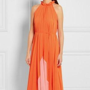 NWT Saloni Orange Iris Crinkled-georgette Dress